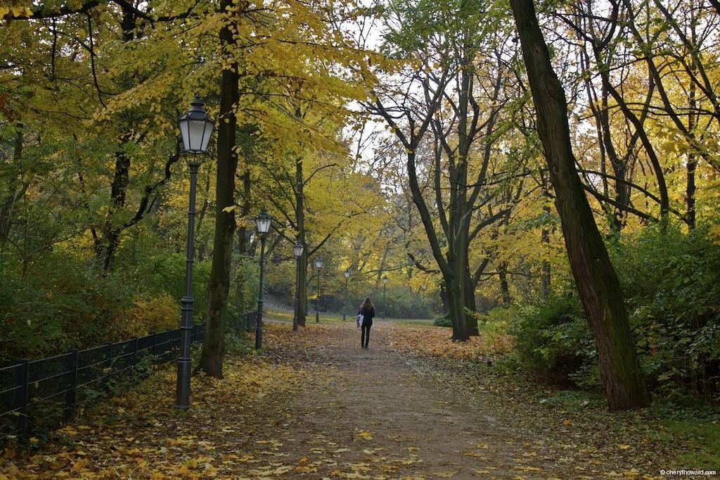 Fall In Berlin - Volkspark Friedrichshain Autumn Woman Walkingjpg