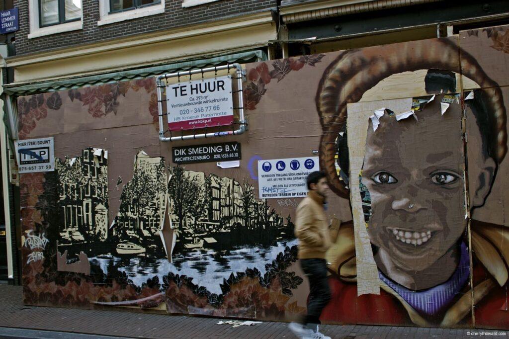 Boys Face Street Art Mural Amsterdam