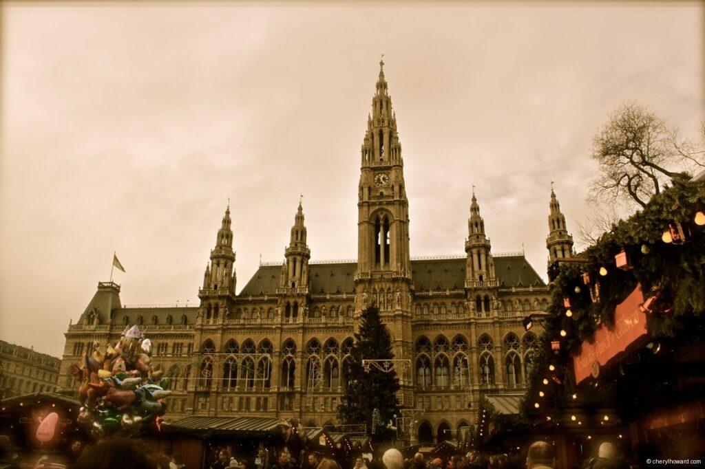 Christkindlmarkt am Rathausplatz In Vienna City Hall View