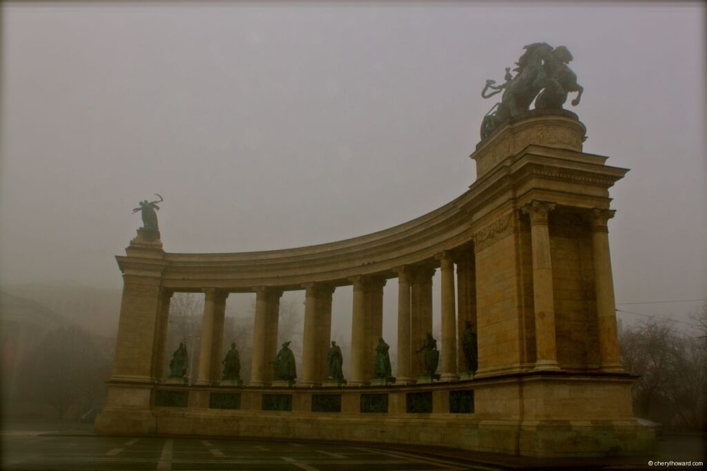 Heroes Square In Budapest Fog