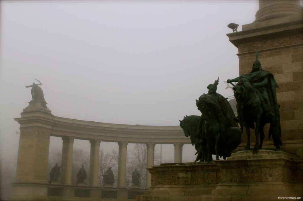 Heroes Square In Budapest Foggy Day
