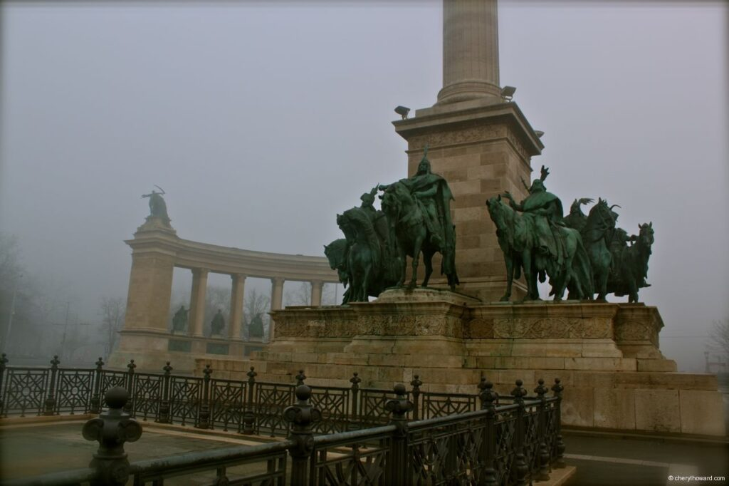 Heroes Square In Budapest Statues