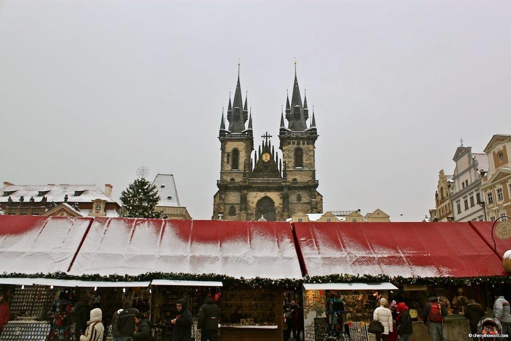 Old Town Square In Prague Market Stalls Festive