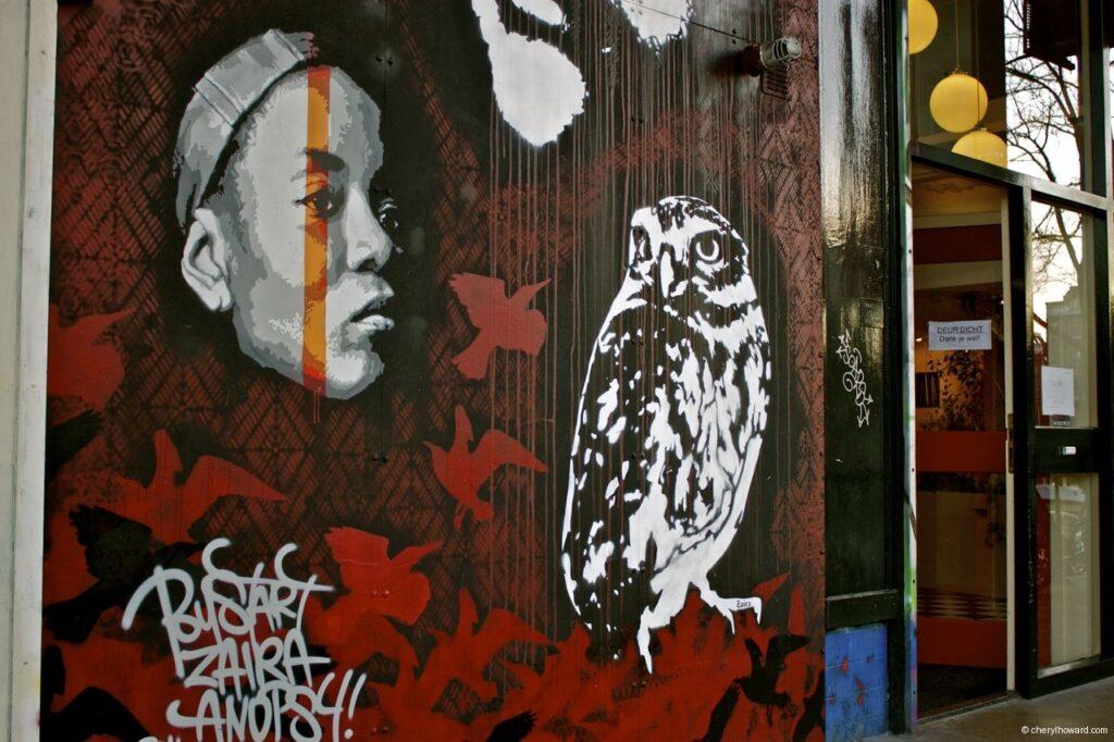 Owl and Woman Street Art Amsterdam