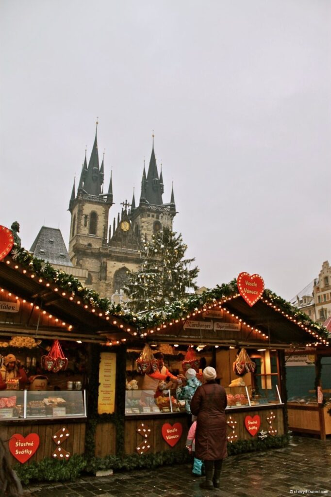 The Christmas Market At Old Town Square In Prague Stall