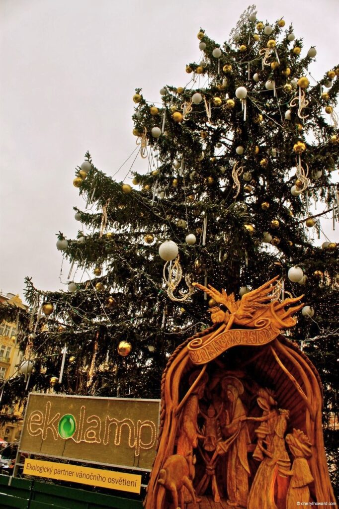 The Christmas Market At Old Town Square In Prague Tree