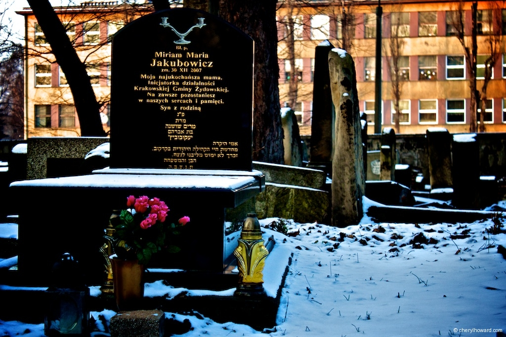 New Jewish Cemetery Krakow Flowers and Snow