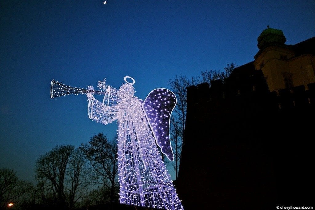 Krakow Poland At Night - Christmas Angel
