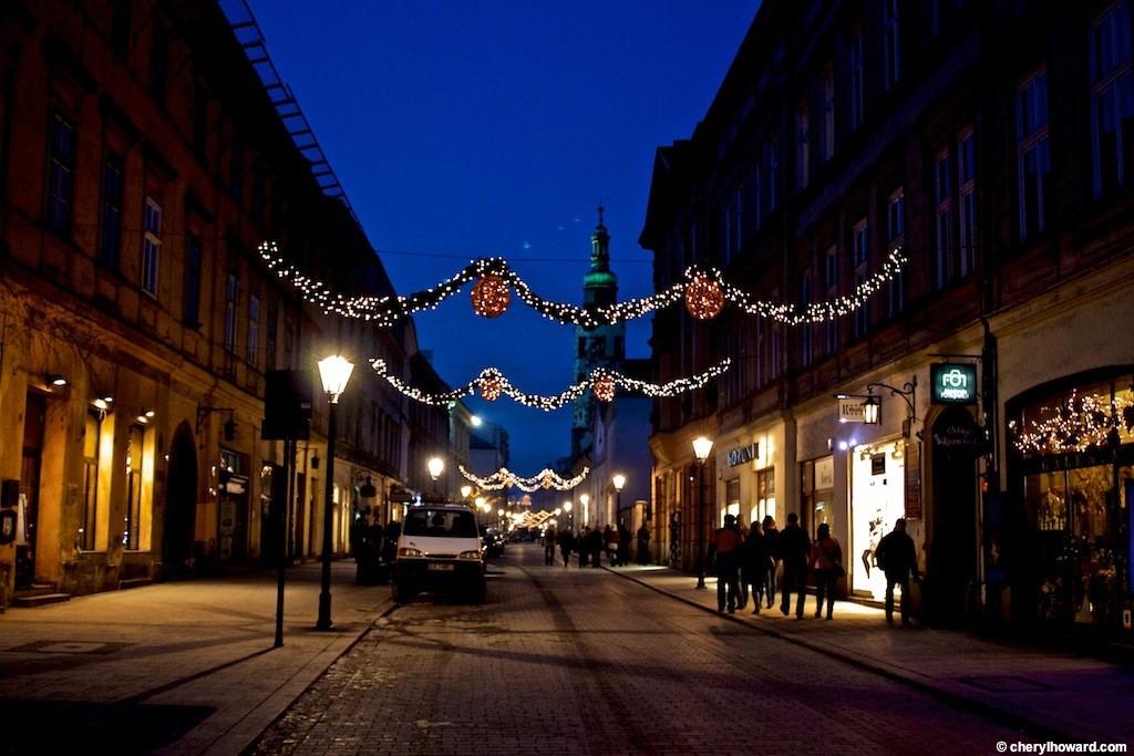 Krakow Poland At Night - Christmas Lights