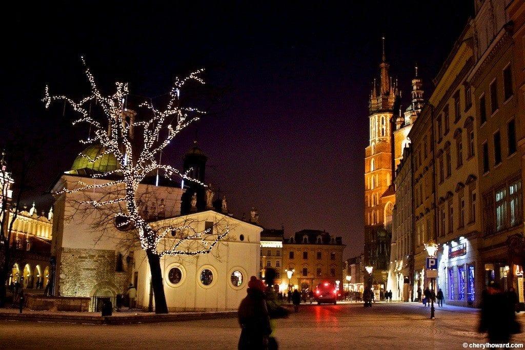 Krakow Poland At Night - Tree Lights