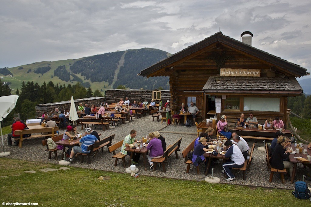 Gostner Schwaige Mountain Hut in the Italian Alps.