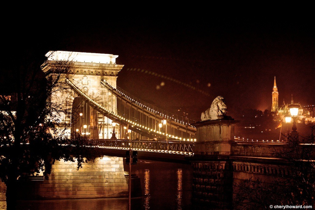 Budapest Chain Bridge At Night