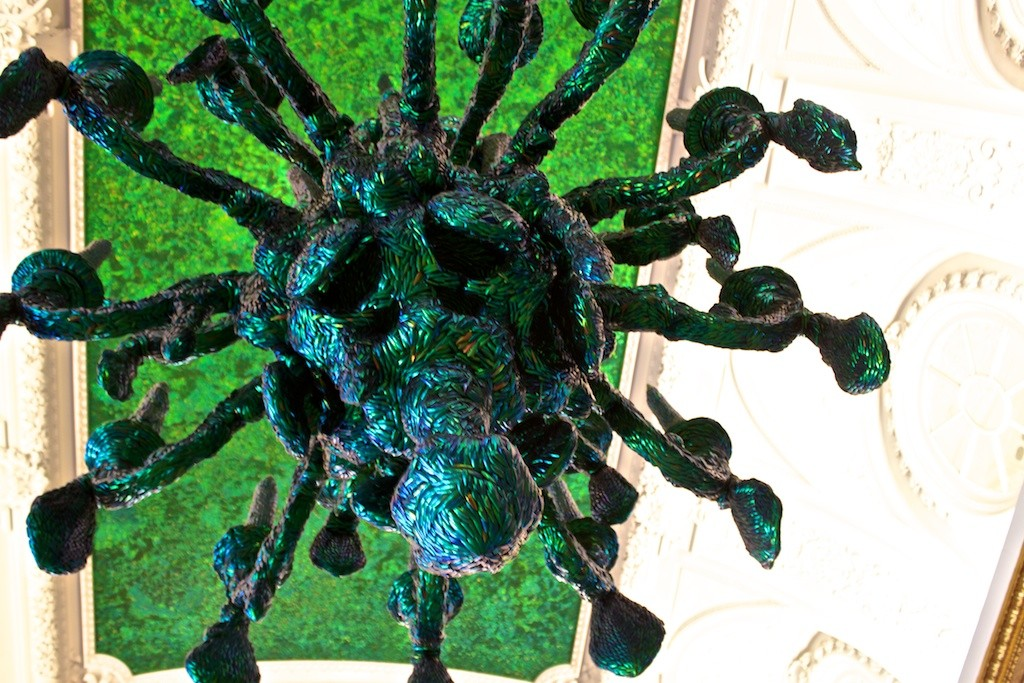 A Chandelier Made From Beetles at the The Royal Palace of Brussels.