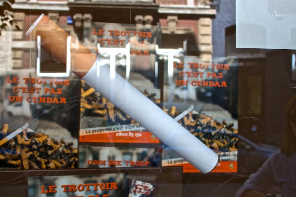 A Giant Cigarette in a Shop Window in Ixelles.