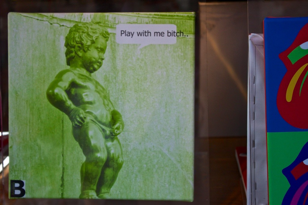 A Peeing Boy Poster in Brussels.