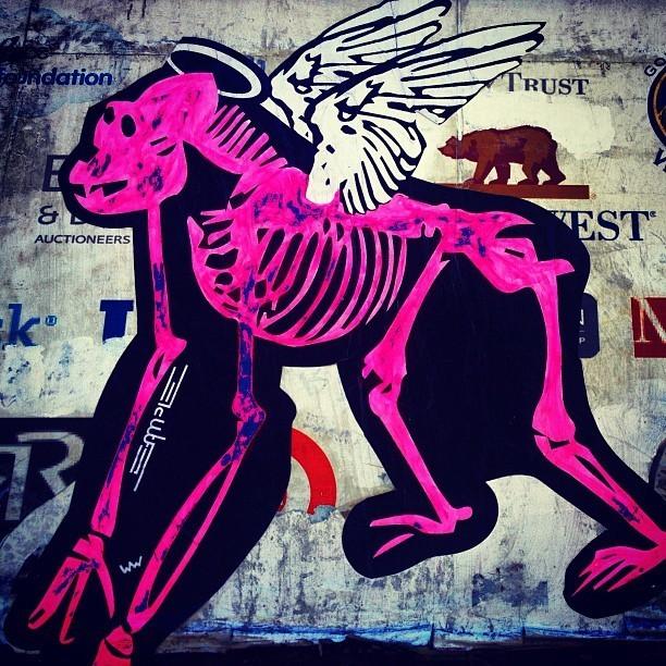 Street Art San Francisco - Pink Monkey Sticker