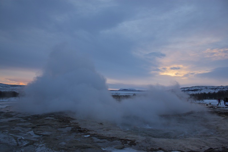 Geothermal Area Golden Circle - Sunset Over Geysir Field