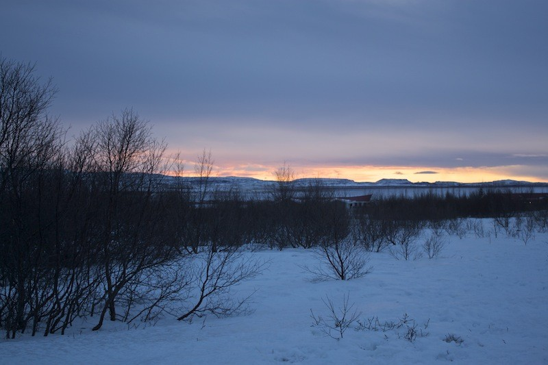 Geysir Geothermal Field in Iceland - Snow Sunset