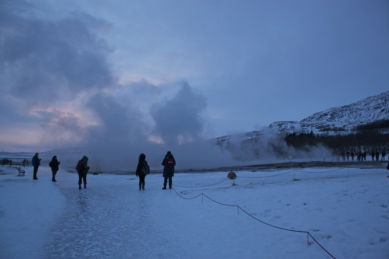 Geysir Geothermal Field in Iceland - Geysir Mist Sunset