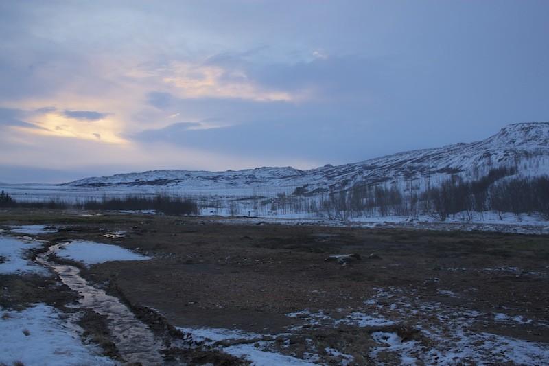 Geysir Geothermal Field in Iceland - Pink Blue Sunset