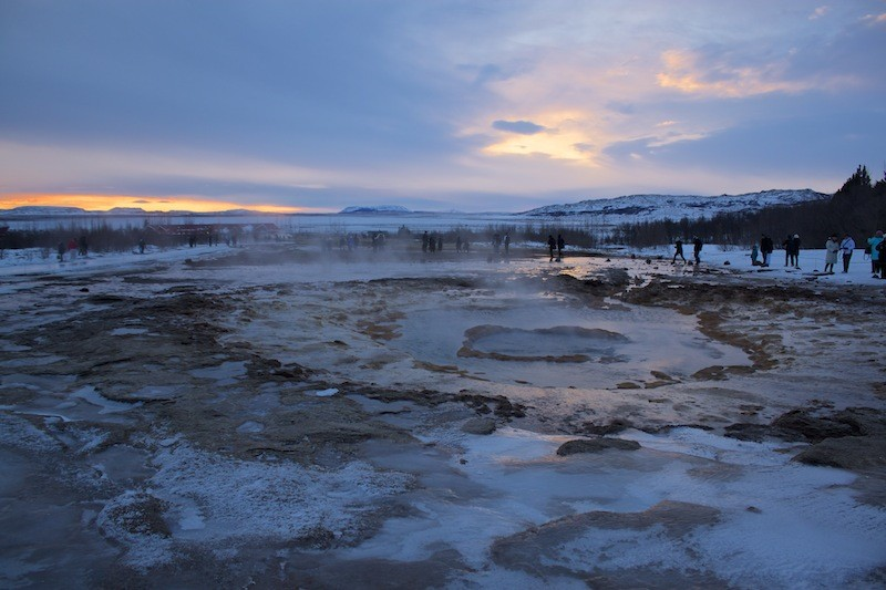Geothermal Area Golden Circle - Sunset Over Geysir