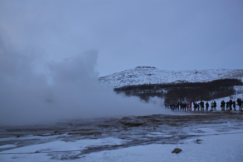 Geysir Geothermal Field in Iceland - People Watching Geysir