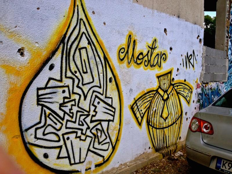 Mostar Street Art - Man in Suit