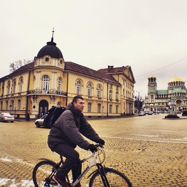 Bike Riding Through the Streets of Sofia Bulgaria