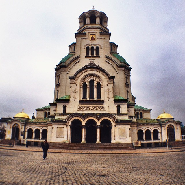 Entrance to St. Alexander Nevsky Cathedral Sofia Bulgaria