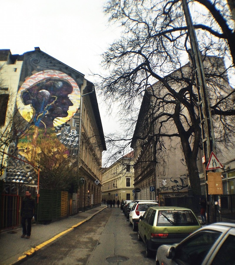 City or Nature? Colorful Mother of Earth vs the Grey City Budapest Street Art Mural
