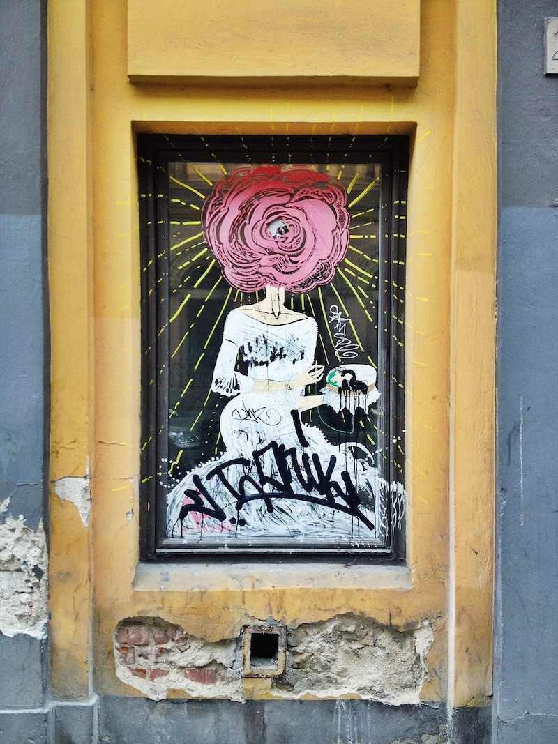 Flower Head Woman Street Art Budapest