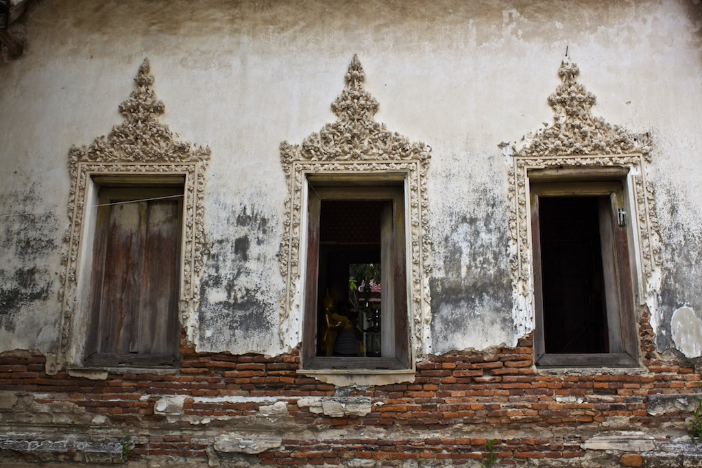 Windows at the Ubosot at Wat Kampaeng Bangkok