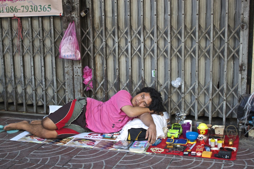 Bangkok Chinatown - Sleeping Vendor