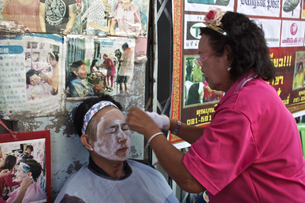 Bangkok Chinatown - Street Side Beauty Treatment Eyebrow Threading