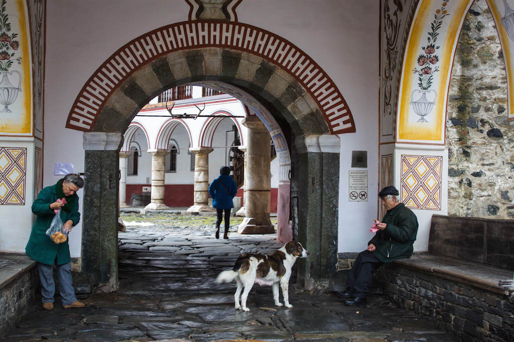 At the Front of Rila Monastery
