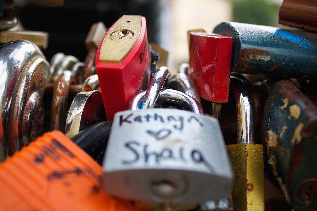 Prague Love Locks Čertovka Bridge - Kathryn and Shalg
