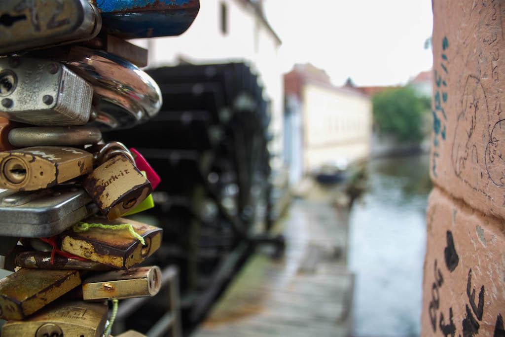 Prague Love Locks Čertovka Bridge - Locks by the River