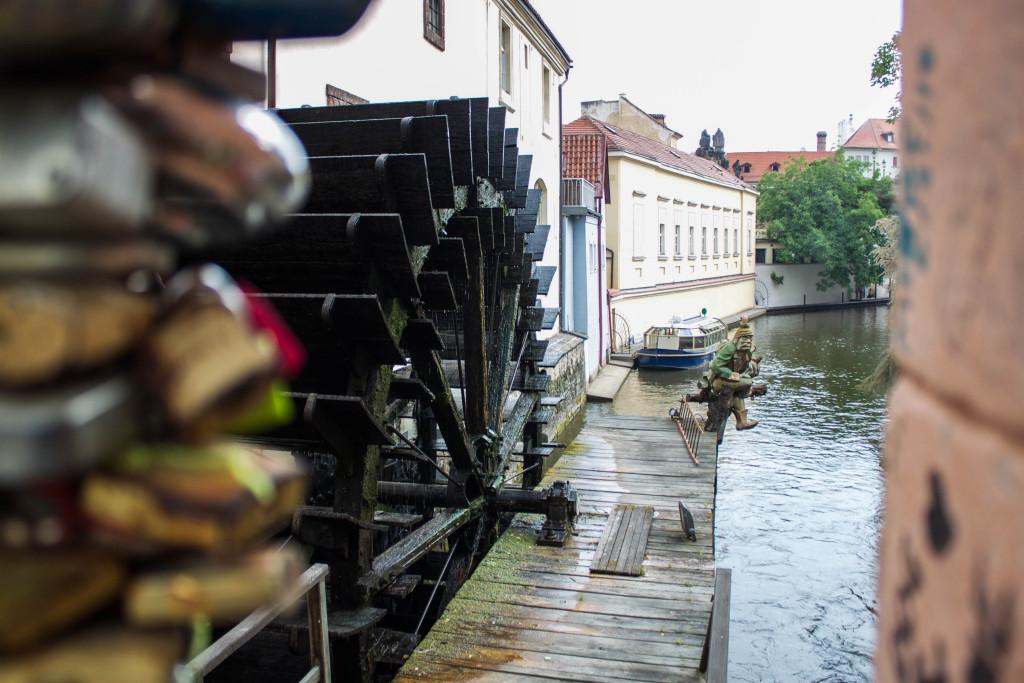 Prague Love Locks Čertovka Bridge- Looking Down the River