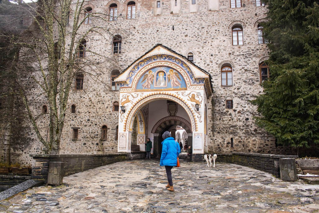 Standing in Front in Rila Monastery
