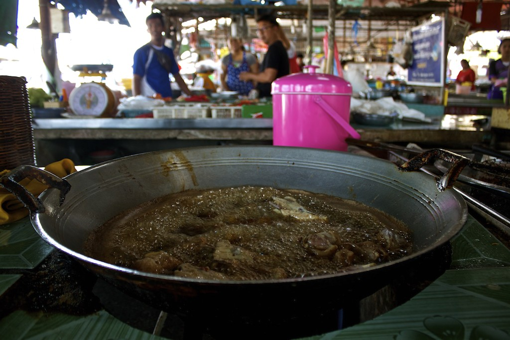 Markets in Trang Cooking Meat