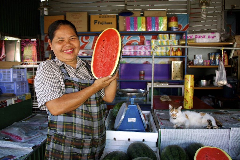 Markets in Trang Lady with Water Melon and Cat