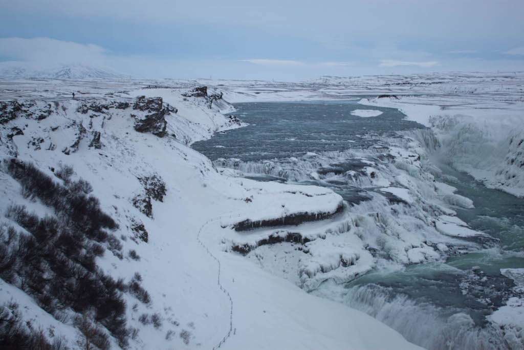 Gullfoss Waterfall in Winter - Blue Sky