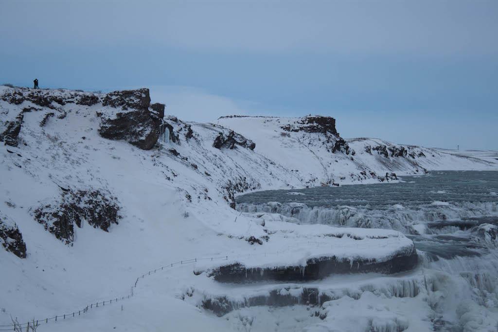Gullfoss Waterfall in Winter - Closeup