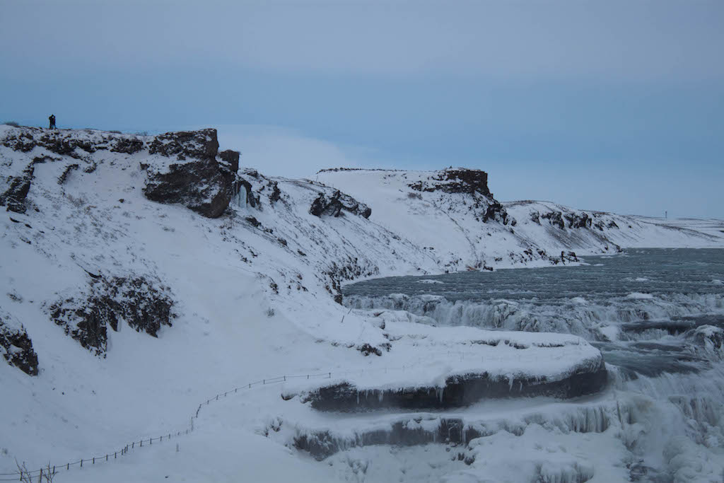 Gullfoss Waterfall in Winter - Closeup