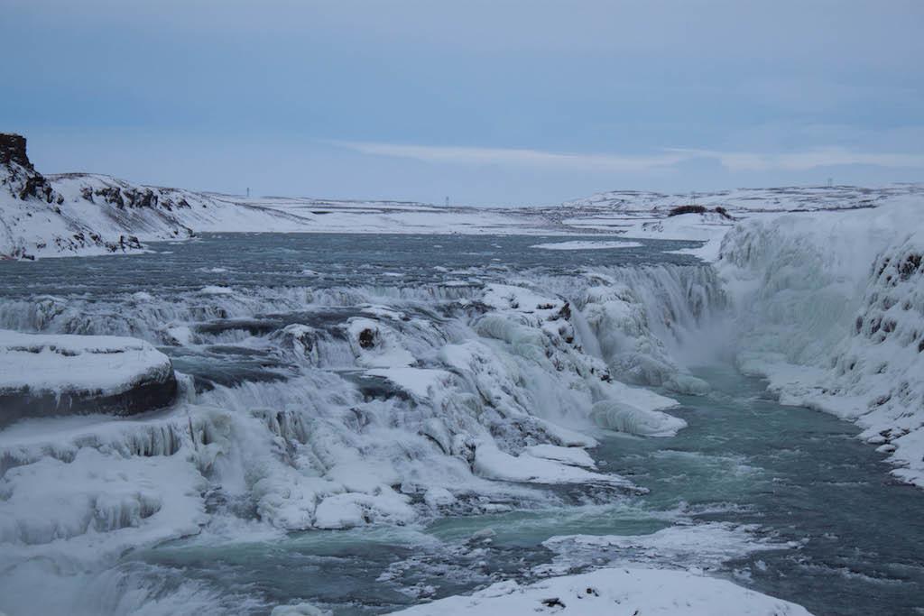 Gullfoss Waterfall in Winter - Frozen