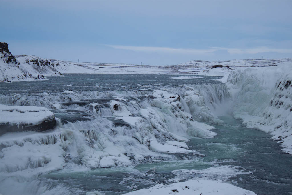 Gullfoss Waterfall in Winter - Frozen