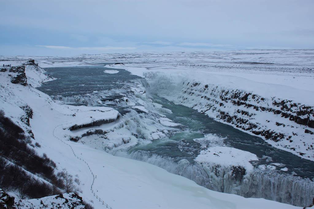 Gullfoss Waterfall in Winter - Full View