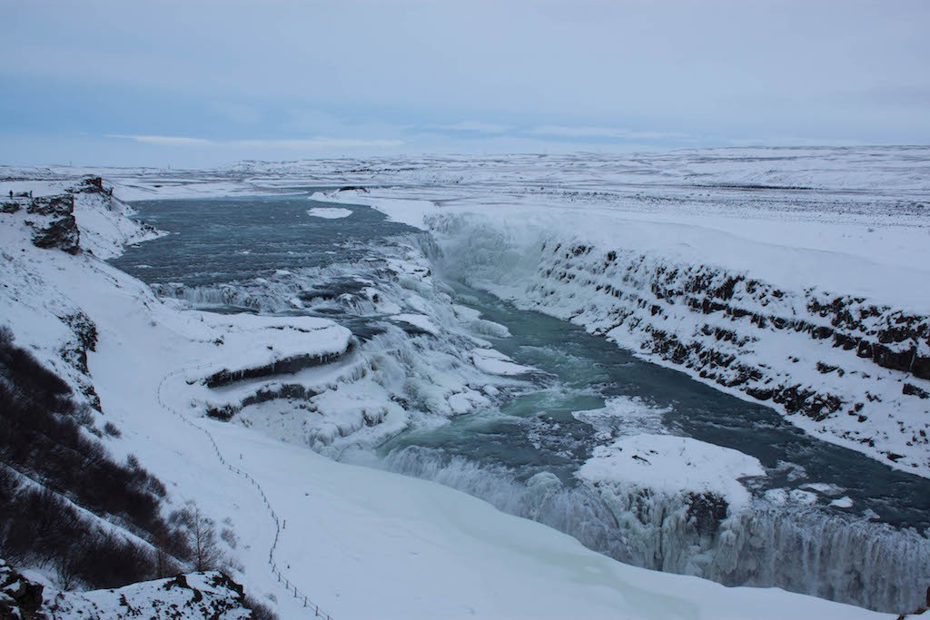 Gullfoss Waterfall in Winter - Full View