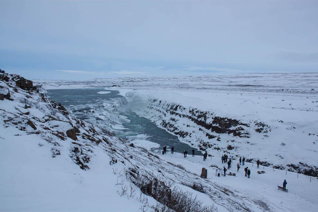 Gullfoss Waterfall in Winter - People Looking