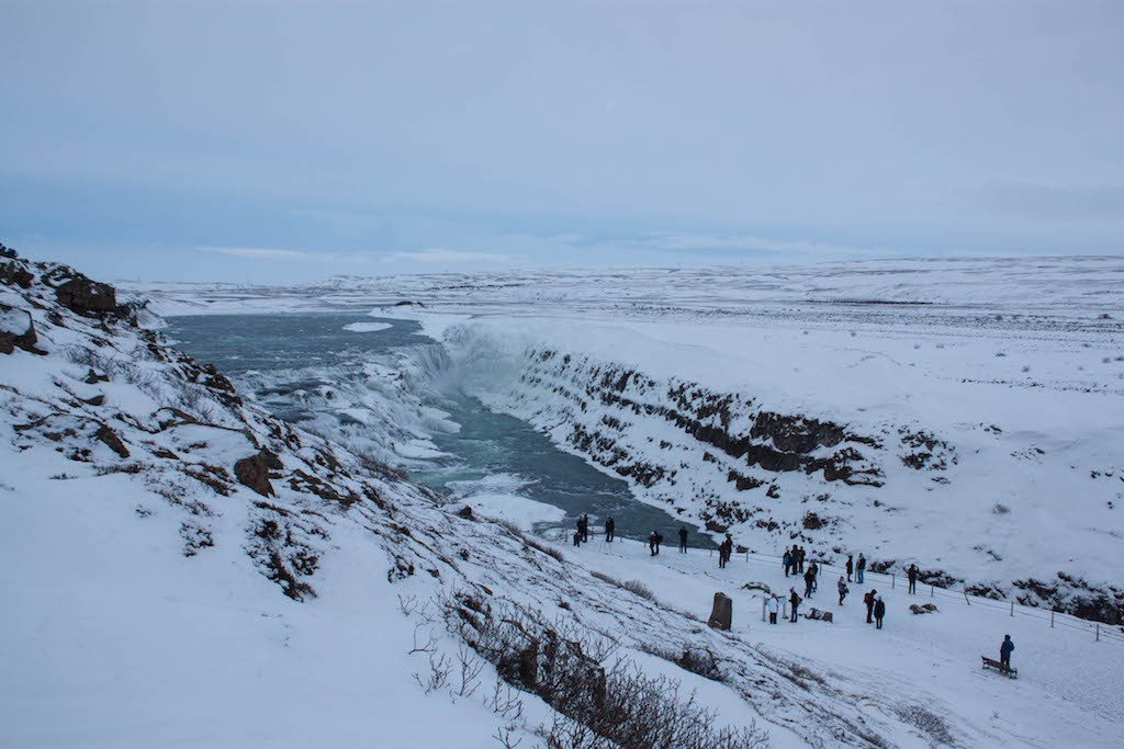 Gullfoss Waterfall in Winter - People Looking